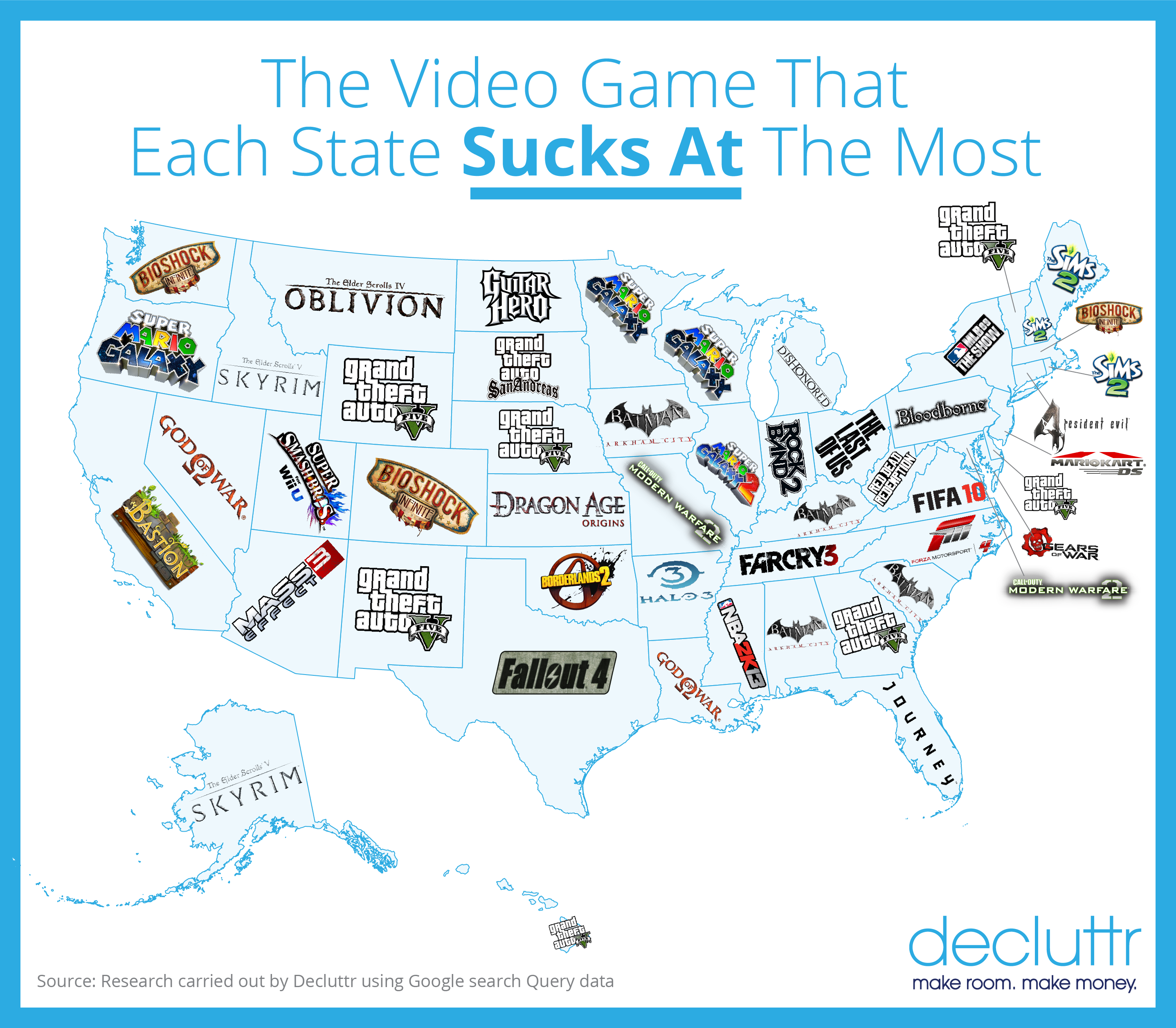 Heres Which Video Game Each State Sucks At The Most Decluttr Blog - Map of united states quiz game