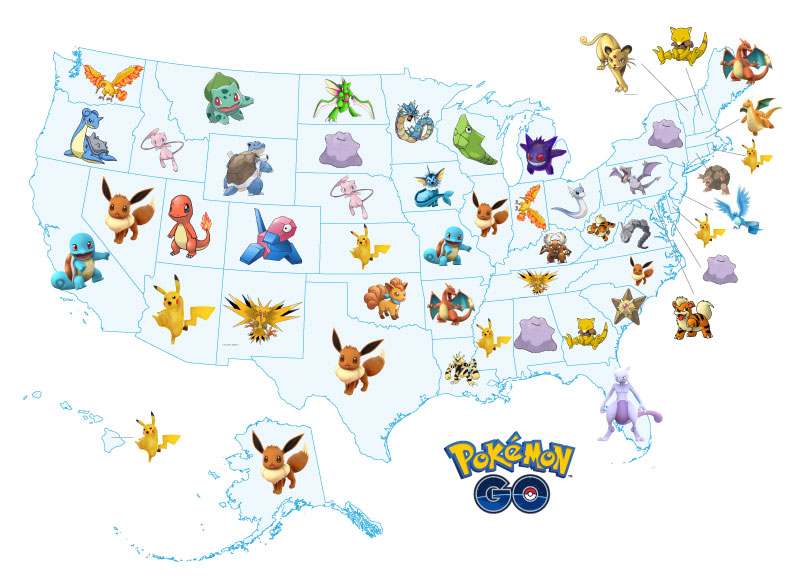 Pokemon Go South Carolina Map.The Pokemon Each Us State Is Desperately Searching For On Pokemongo