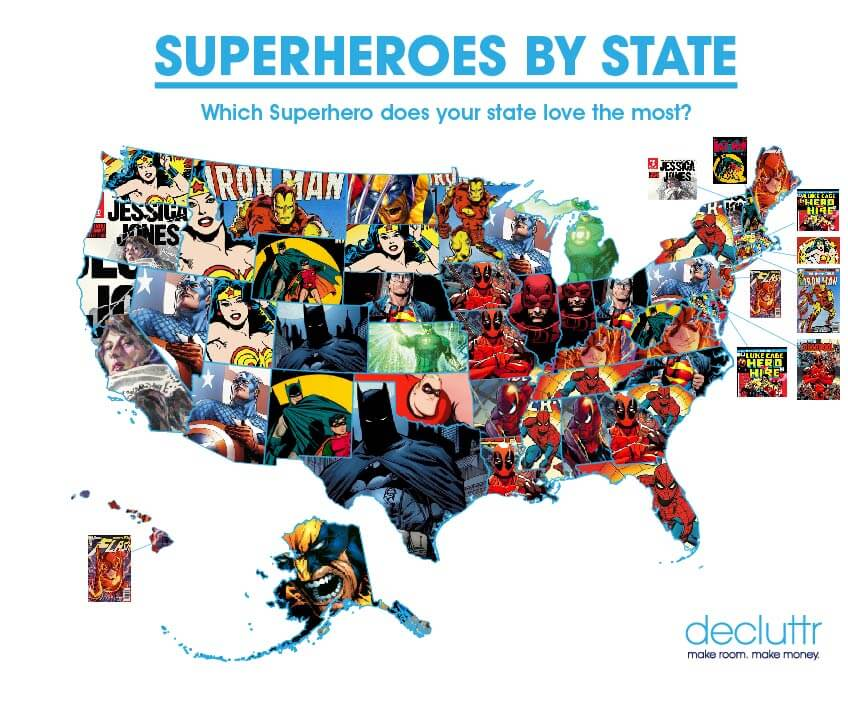 Most popular superheroes by state