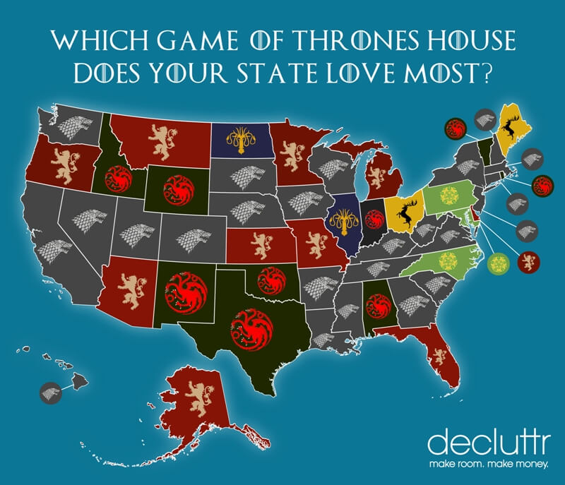 Which Game Of Thrones House Is Your State Decluttr Blog